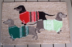 Dachshunds With Sweaters Doormat