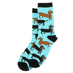 Red And Blk/tn Dachshunds On Sky Blue Socks