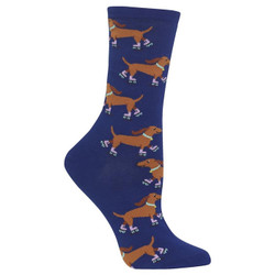 Navy Blue Skating Dachshund Socks