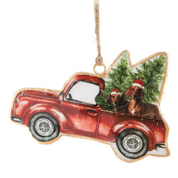 Dachshunds In A Truck Christmas Ornament Left Side