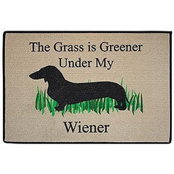 The Grass is Greener Under My Wiener Dachshund Doormat