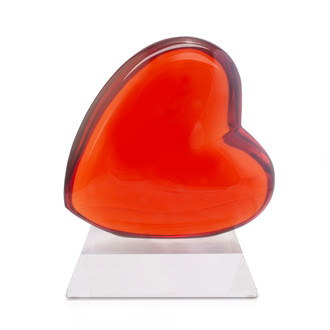 Acrylic Heart Sculpture, Tangerine