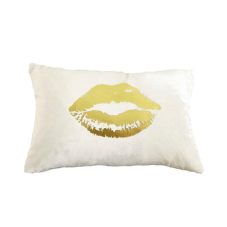 Pillow Velvet Lips, Snow/Gold