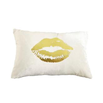 Snow/Gold Velvet Lips Pillow