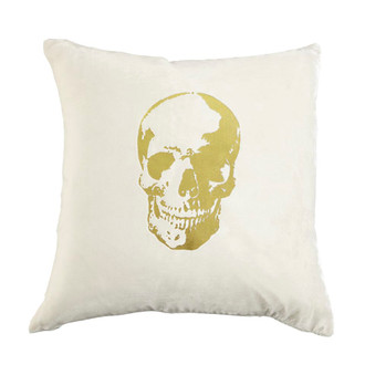 Pillow Velvet Skull, Snow/Gold