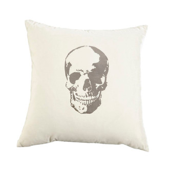 Pillow Velvet Skull, Snow/Silver