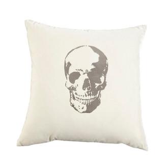 Snow/Silver Velvet Skull Pillow