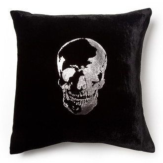 Black/Silver Velvet Skull Pillow