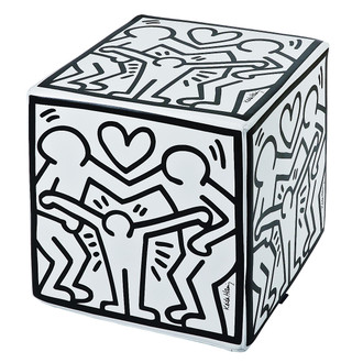 Keith Haring Happy Family White Ottoman