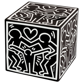 Ottoman Keith Haring's Happy Family, Black