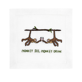 Cocktail Napkins 'Monkey See, Monkey Drink'