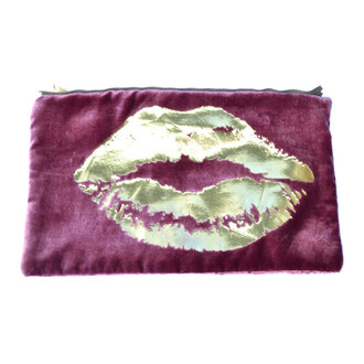 Berry/Gold Velvet Lips Pouch