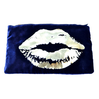 Velvet Lips Pouch Navy/Gold