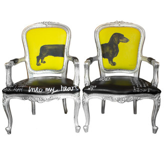 Sausage Dog Chairs, Black/Yellow