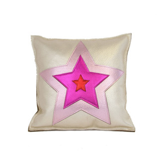 Leather Pillow Star Pink/Red