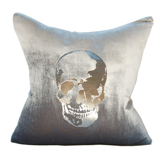 Velvet Skull Pillow Platinum/Gunmetal