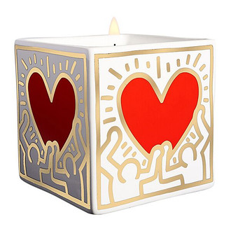 Keith Haring Square Candle, Red and Gold Heart