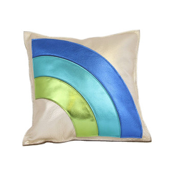 Leather Pillow Arc, Blue/Green
