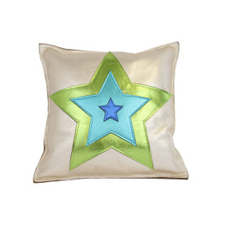 Leather Pillow Star, Blue/Green