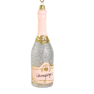 Holiday Ornament Champagne Bottle Pink