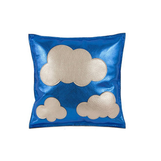 Leather Pillow Clouds, Blue/Silver