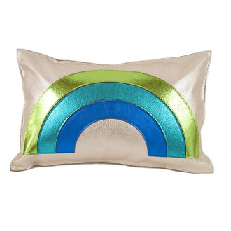 Leather Pillow Rainbow, Blue/Green