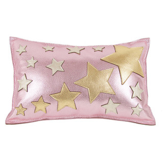 Leather Pillow Twinkle, Pink/Silver/Gold