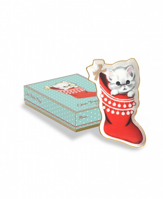Porcelain Treat Tray Kitten in Stocking