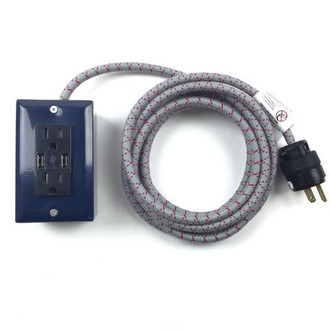 USB Power Cord Navy and Grey
