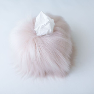 Faux Fur Tissue Box Cover, Blush