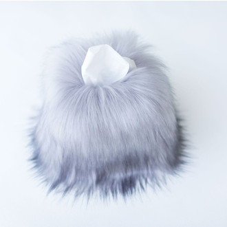 Faux Fur Tissue Box Cover, Grey