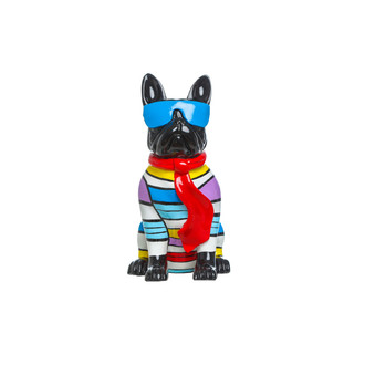 French Bulldog Sculpture with Blue Sunglasses
