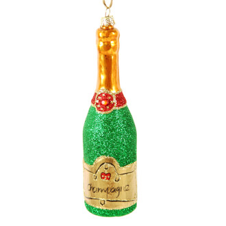 Holiday Ornament Champagne Bottle Green