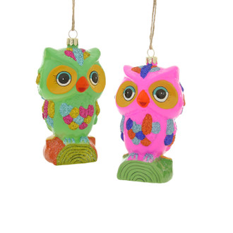 Holiday Ornament Retro Owl Set/2