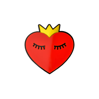 Pop Art Pin Heart with Crown
