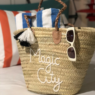 Straw Tote Magic City, White