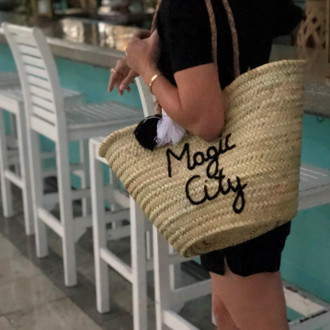 Straw Tote Magic City, Black