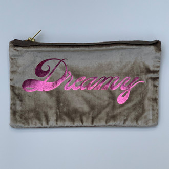 Velvet Pouch Dreamy, Willow/Hot Pink