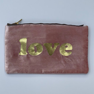 Velvet Pouch Love Block, Pink/Gold