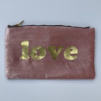Velvet Pouch Love Block, Pink/Gold