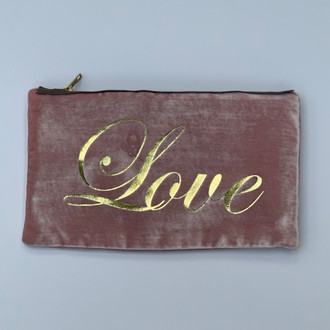 Velvet Pouch Love Script, Pink Gold