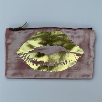 Velvet Pouch Lips, Pink/Gold