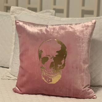 Pillow Velvet Skull, Pink/Gold