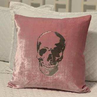 Pillow Velvet Skull, Pink/Silver