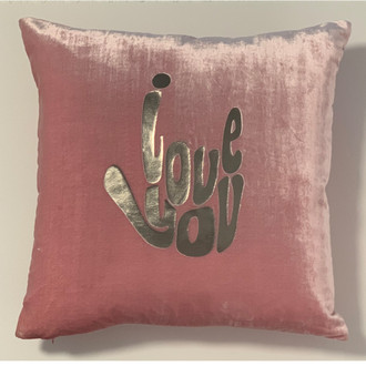 Pillow Velvet I Love You, Pink/Silver
