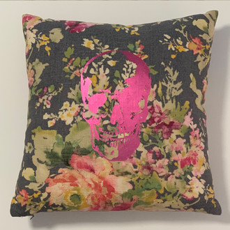 Pillow Skull, Dark Floral/Hot Pink