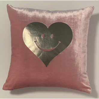 Pillow Velvet Happy Heart, Pink/Silver