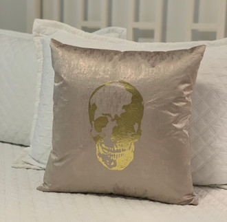 Pillow Cotton Skull, Metallic Pink/Gold