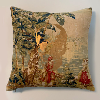 Pillow Skull, Tapestry Floral/Copper