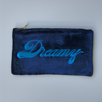 Velvet Pouch Dreamy, Navy/Cobalt
